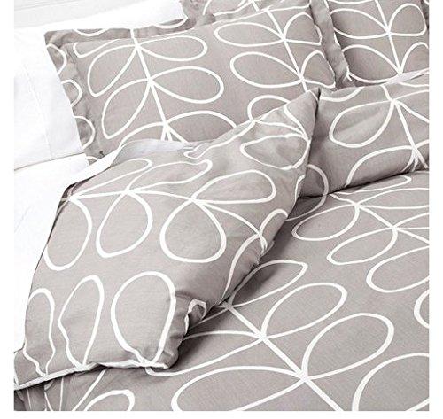 Orla Kiely Pebble Linear Stem 2 Pieces Twin Duvet Cover Set - Light Gray - 100% Cotton