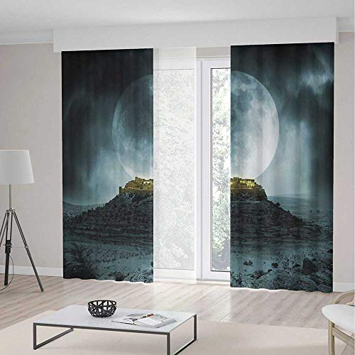 TecBillion Decor Collection,Night Sky for Living Room,Big Full Moon Over a Fantasy Castle on Hill Clouds Rocks Valley View,118Wx106L Inches ()