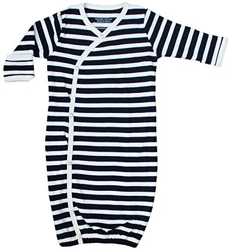 - Organic Cotton Baby Clothes Sleepwear Kimono Gown GOTS Certified (Black-Natural, 0-6m)
