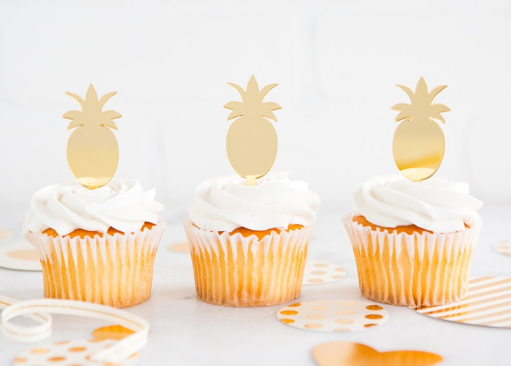 My Mind's Eye TRP410 Acrylic Gold Pineapple Cupcake Toppers, Set of 8