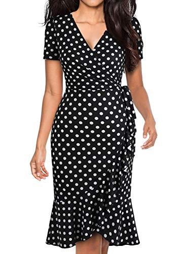 BOKALY Women's Vintage Fit and Flare Cocktail Dresses, Vintage Classic Black White Dot Sexy Asymmetrical Ruffle Hem Wrap Sheath Casual Dress (M, BK505-Black Dot)