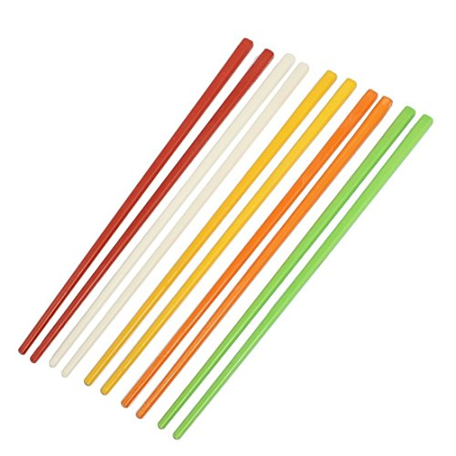 TOOGOO(R) 5 Pairs Assorted Color Plastic Chinese Chopsticks 8.7