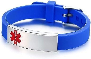 LuxglitterLin Silicone Medical Alert ID Bracelets For Men Women Adjustable Silicone Black Bangles Wristband 8.5