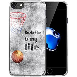 6S Plus Case/Case for iPhone 6 Plus Basketball/IWONE Designer Non Slip Rubber Durable Protective Skin Cover Shockproof Compatible for iPhone 6/6S Plus + Creative Painting Basketball Quotes Sports