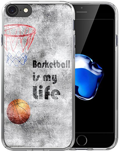 6S Plus Case/6 Plus Case Basketball/IWONE Designer Non Slip Rubber Durable Protective Skin Cover Shockproof Compatible with iPhone 6/6S Plus + Creative Painting Basketball Writings Sports