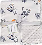 Oversized 56'x 44' Muslin Toddler Blanket with Soft Minky Dotted Backing, Unisex Baby Blanket for Boys and Girls. (Flamingo) (Grey)