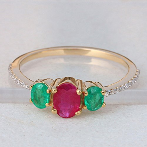 (18k Yellow Gold Ruby & Emerald Gemstone Ring Pave Diamond Fine Jewelry)