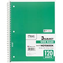 """Mead Spiral Notebook, 3 Subject, Wide Ruled Paper, 120 Sheets, 10-1/2"""" x 7-1/2"""", Green (72221)"""