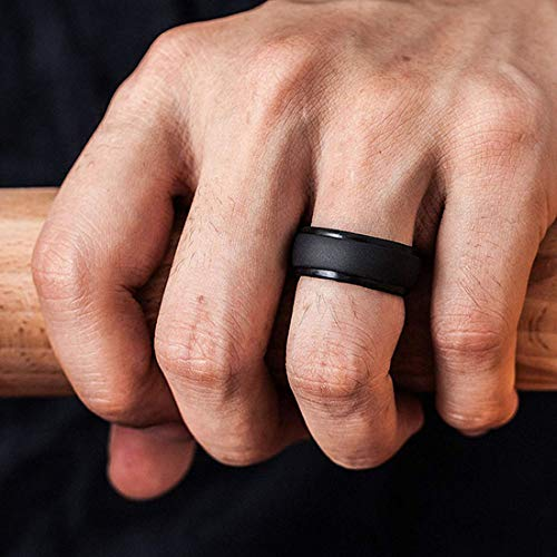 SOVSEFD Silicone Wedding Ring Band for Men 12 Pack Size 11 12 13 Step Edge Sleek Design and Bark Texture Rubber Wedding Bands Rings 8.7mm Wide,Skin Safe,Durable(12 Color,10.5-11(20.6mm/0.81inch))