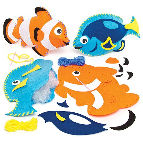 Felt Tropical Fish Cushion Sewing Kits for Children to Make