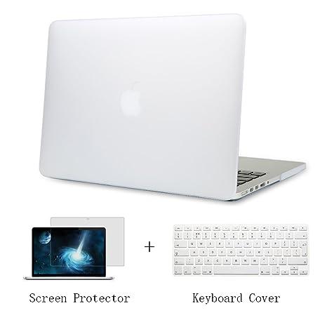 Batianda Plástico Funda Dura Carcasa para MacBook Pro 13 Retina & Cubierta del Teclado & Protector de Pantalla,Transparente