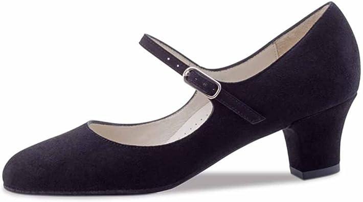 3,5 cm Bloc Werner Kern Femmes Chaussures de Danse Ines Cuir Noir