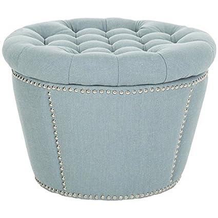 Nice Safavieh Mercer Collection Emma Light Blue Tufted Round Storage Ottoman