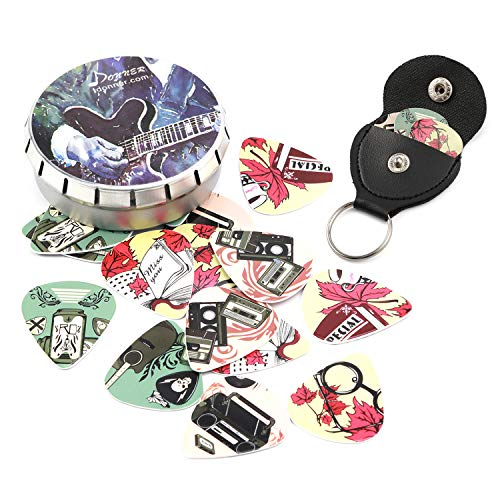 Donner Nostalgia Celluloid Guitar Picks with Key Chain Pick Holder 16 Pack Includes Thin, Medium, Heavy & Extra Heavy Gauges (Guitar Pick Key Chain Case)
