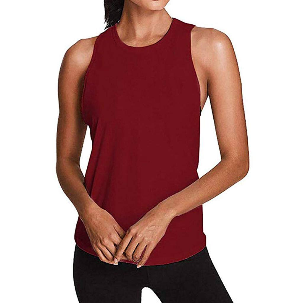 Alalaso Sexy Open Back Yoga Shirt Women Activewear Workout Sports Gym Tank Tops Vest(Red,L)