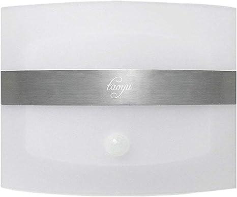 Taoyu Aplique de Pared Inalámbrica Lámpara de pared LED con Sensor de Movimiento con Pilas de Luz Nocturna para Pasillo Armario Escalera Garaje (Blanco cálido): Amazon.es: Iluminación