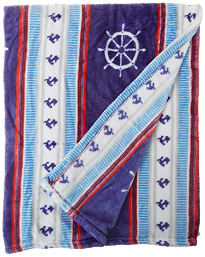 Cozy Fleece Plush Throw Blanket, 50x60, Nautical