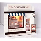 Dollhouse Miniature Kit Light Cake Love Bakery Shop for christmas gift