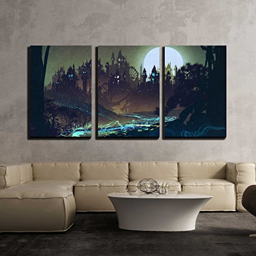 wall26 - 3 Piece Canvas Wall Art - Beautiful Landscape with Mysterious River,Full Moon Over Castles,Illustration Painting - Modern Home Decor Stretched and Framed Ready to Hang - 24