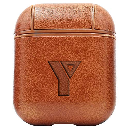 Logo YMCA (Vintage Brown) Engraved Air Pods Protective Leather Case Cover - a New Class of Luxury to Your AirPods - Premium PU Leather and Handmade exquisitely by Master Craftsmen
