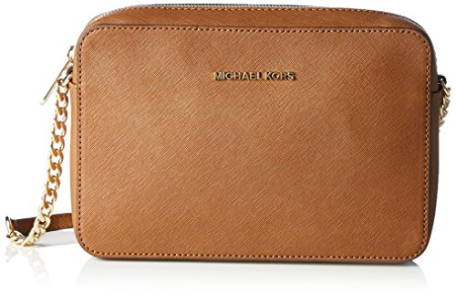Michael Kors  Women's Jet Set Crossbody Leather Bag, Luggage, Large