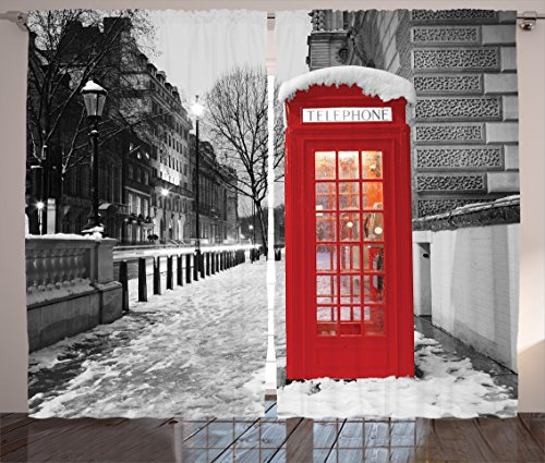 London Red Telephone Booth Winter Dawn Snowy City England Britain Symbol Urban Scene Parliament Square Westminster City Bedroom Living Kids Youth Room Curtain 2 Panels Set, Gray White Red