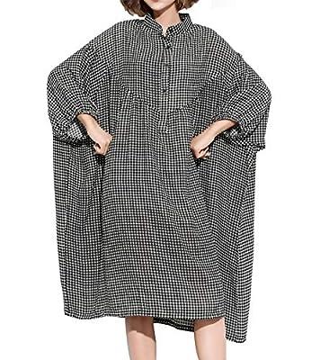 ELLAZHU Women's Casual Button-Down Long Sleeve Oversized Plaid Shirt Maxi Dress GA1413