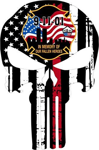 Fallen Sticker (Thin Red Line Firefighter - Fallen Heroes 9/11 Decal Vinyl Sticker 4