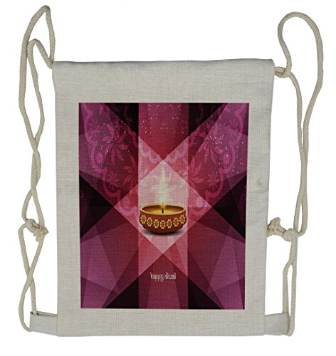 Lunarable Diwali Drawstring Backpack, Geometric Sun Beams Candle, Sackpack Bag by Lunarable