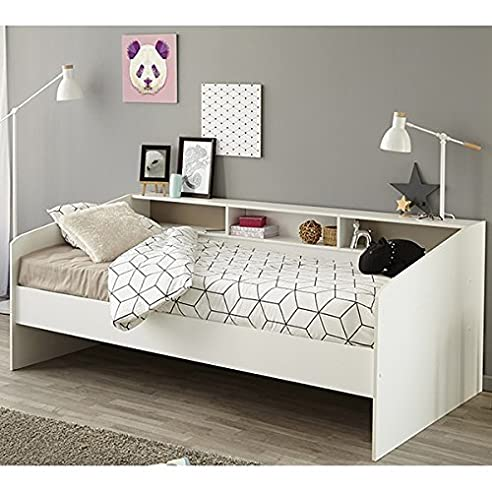 Kinderzimmer bett  Funktionsbett 90*200 cm weiß Regalwand Kinderbett Jugendbett ...