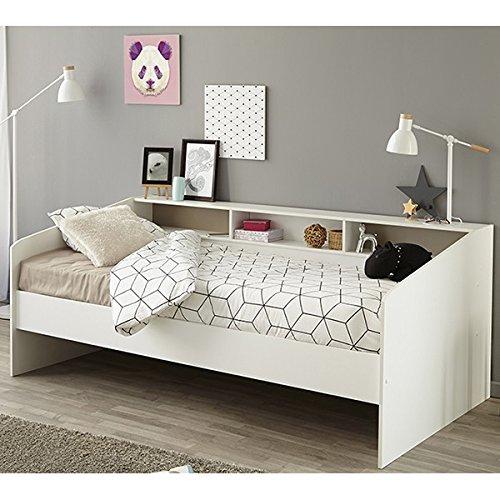 Bett mit bettkasten kinder  Kinderbett Funktionsbett 90x200, CRAVOG Weiß lackiert Massivholz ...