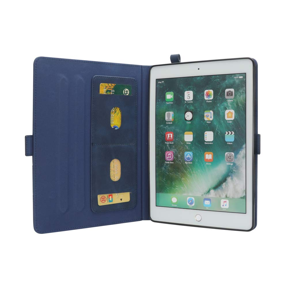 New iPad 12.8'' Case for Men, YiMiky Luxury Book Style Folding Stand Case with Document Pocket Card Slots Folio Smart Case Protective Cover Slim Stand Shell for iPad Pro 12.8 Inch - Dark Blue by YiMiky (Image #6)