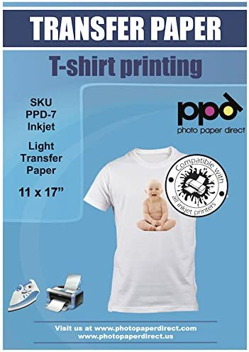 PPD-107-10 PPD Inkjet Iron-On Dark T Shirt Transfers Paper 11x17 Pack of 10 Sheets