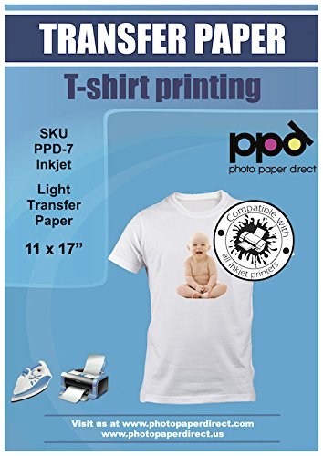 PPD Inkjet Iron-On Light T Shirt Transfer Paper 11 x 17'' Pack of 50 Sheets (PPD007-50) by Photo Paper Direct