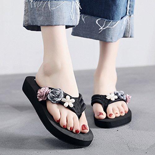 moda b tacón sandalias de de clip Tipo de antideslizante playa damas laderas FLYRCX verano de sandalias alto calzado xXTqvRW
