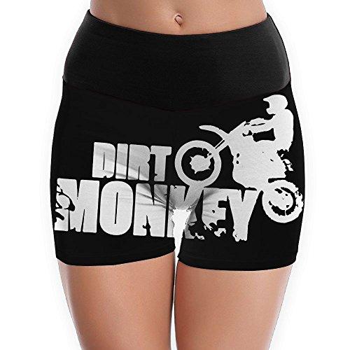 TTBYOGA Dirt Monkey Dirt Bike Women's Fold Over Yoga Shorts Fitness Yoga Sport Short - Contour Jacket Black Motorcycle