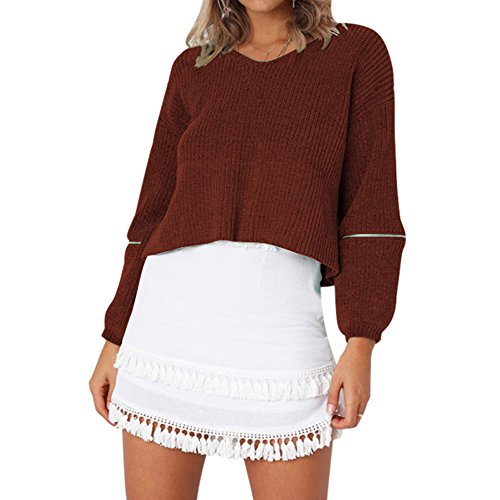 Brun Sweat Pullover Casual Top Rond Pulls en Dihope Col Automne Longues Sweater Manches Femme Printemps Sweatshirt Tricot qpRtna1