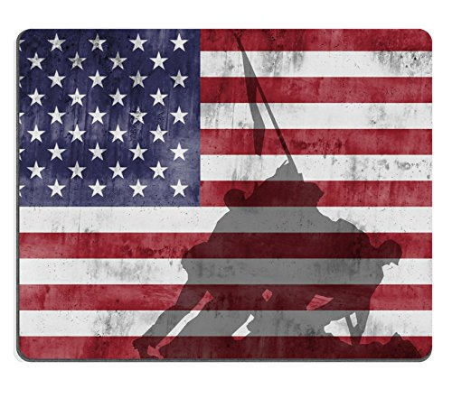 Liili Mouse Pad Natural Rubber Mousepad Marine Corps War Memorial Monument againts The American Flag Image ID 15445348