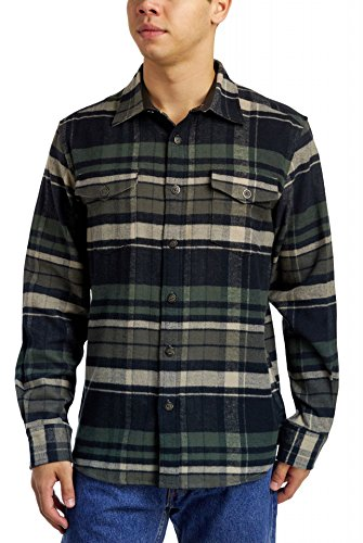 Herringbone Flannel Shirt - Dakota Grizzly Men's Turner Herringbone Long Sleeve Flannel Shirt, Pebble, XLarge