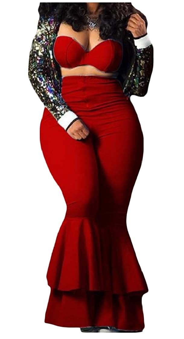 YUNY Womens Sleeveless Two Pieces Chest Wrapped Bell-Bottoms Zipper Jumpsuits Romper Red 2XL