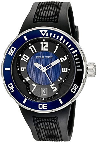 Philip Stein Men's 34-BBL-RB Active Extreme Stainless Steel Watch with Textured Rubber Band