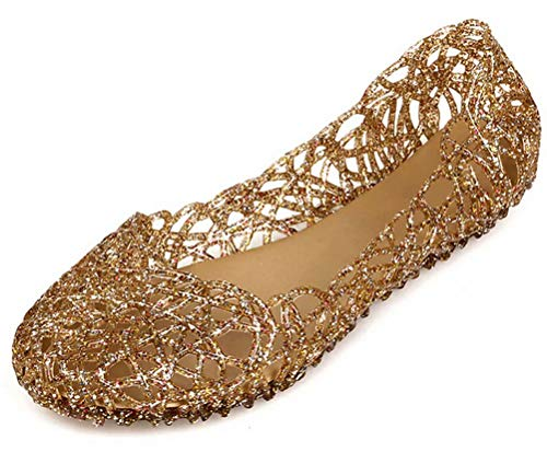 (Sketo Women's Bird Nest Layered Lines Jelly Ballet Flats US Size 8 Gold)