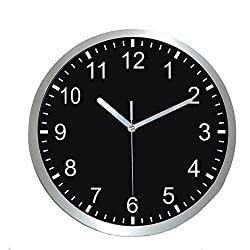 Harryup 12'' Large Wall Clock, Non-Ticking Silent Quartz Decorative Clocks, Modern Style Good for Home Kitchen Living Room Bedroom Office - Stainless Steel Metal Frame - Black