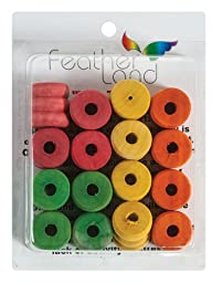 Paradise 1-1/8-Inch by 1-1/8-Inch Honey Dip Wood Spools Bird Toy