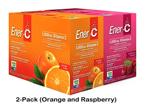 Ener-C 60 Count | Orange and Raspberry | Effervescent Multivitamin Non-GMO Gluten-Free Vegan Powdered Fruit Juice Drink Mix for Immune Support and Hydration with (Effervescent Drink Mix)