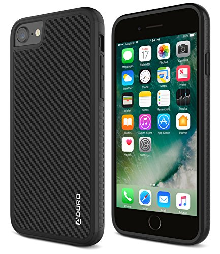 Carbon Fiber Hard Case - Aduro iPhone 8/iPhone 7 Case, Carbon Fiber Case with Two Layer Shock Absorption Rubber Grip and Raised Edges, Hard Cover Drop Protection Case for Apple iPhone 8 and iPhone 7