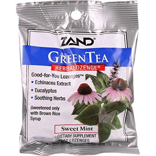 Zand Counter Display - Herbal Supplement - HerbaLozenge - Green Tea with Echinacea - 15 lozenges - case of 12 (Tea Lozenge Green Herbal)
