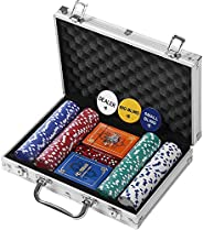 Rally and Roar Professional Poker Set w/Hard Case, 2 Card Decks, 5 Dice, 3 Buttons - Multiple Options