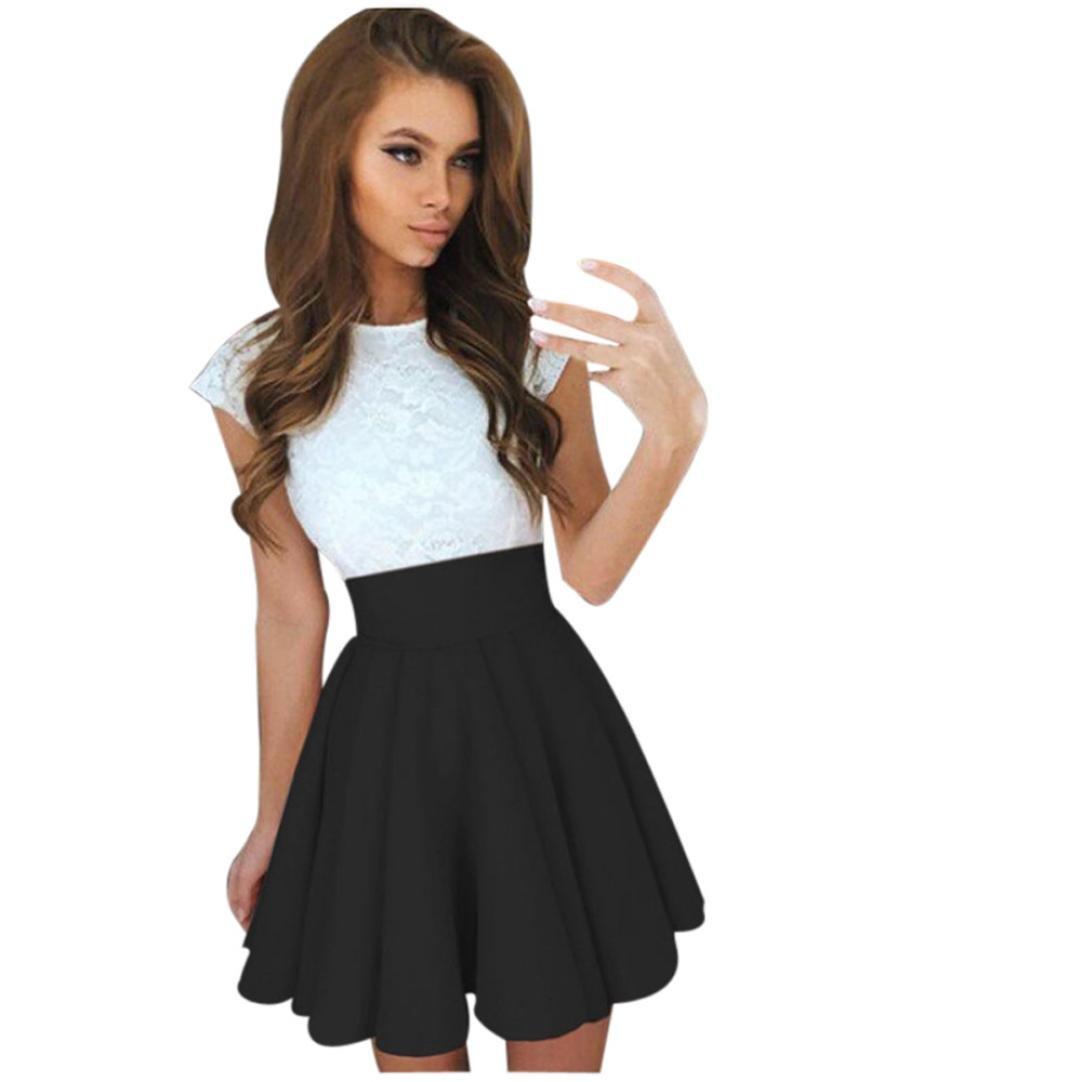 618b714feadd Amazon.com: FUNIC Women Summer Mini Dress, Short Sleeve Skater Lace Dress  Party Cocktail Dresses: Clothing