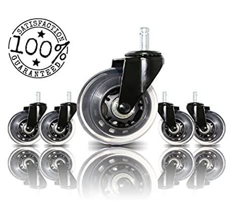 Office Chair Caster Wheels Replacement Set of 5 By BOSS CASTER | Universal Fit | Heavy Duty Wheel with Smooth Rolling Rollerblade Style & Safe for All Floors Including Hardwood Floors & Carpet | - Boss Office Desk